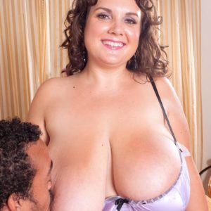 Plus-sized female Charlie Cooper elations her stud with her massive funbags in sheer lingerie