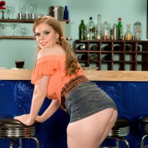 Solo chick Jessica Taylor frees her big melons at the bar with hair up in ponytails