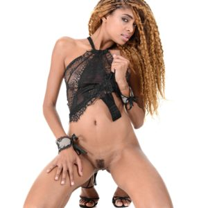 Brazilian solo female Luna Corazon Deep throats a dildo after taking off semi-transparent lingerie