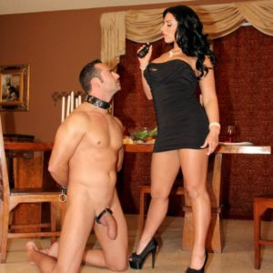 Brunette gf Bella Reese makes her male submissive eat out her a-hole in high-heeled shoes