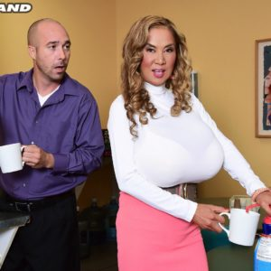 Japanese lady Minka tempts a coworker with her enormous titties at work