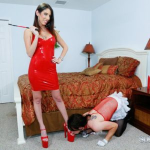 Long-limbed gf Dava Foxx has her crossdressing sissy idolization her feet in a crimson dress