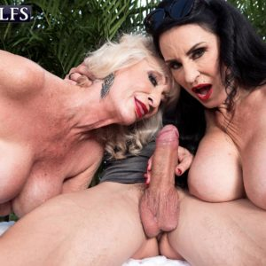 Mature gal Rita Daniels and her mistress tempt and suck off a junior stud