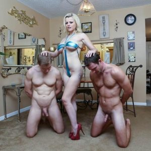 Sandy-haired chick Nadia Milky dominates two sissy men that idolization her bare feet