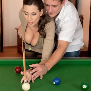 Spectacular MILF Sensuous Jane tit pokes a boy after shooting pool in ebony pantyhose