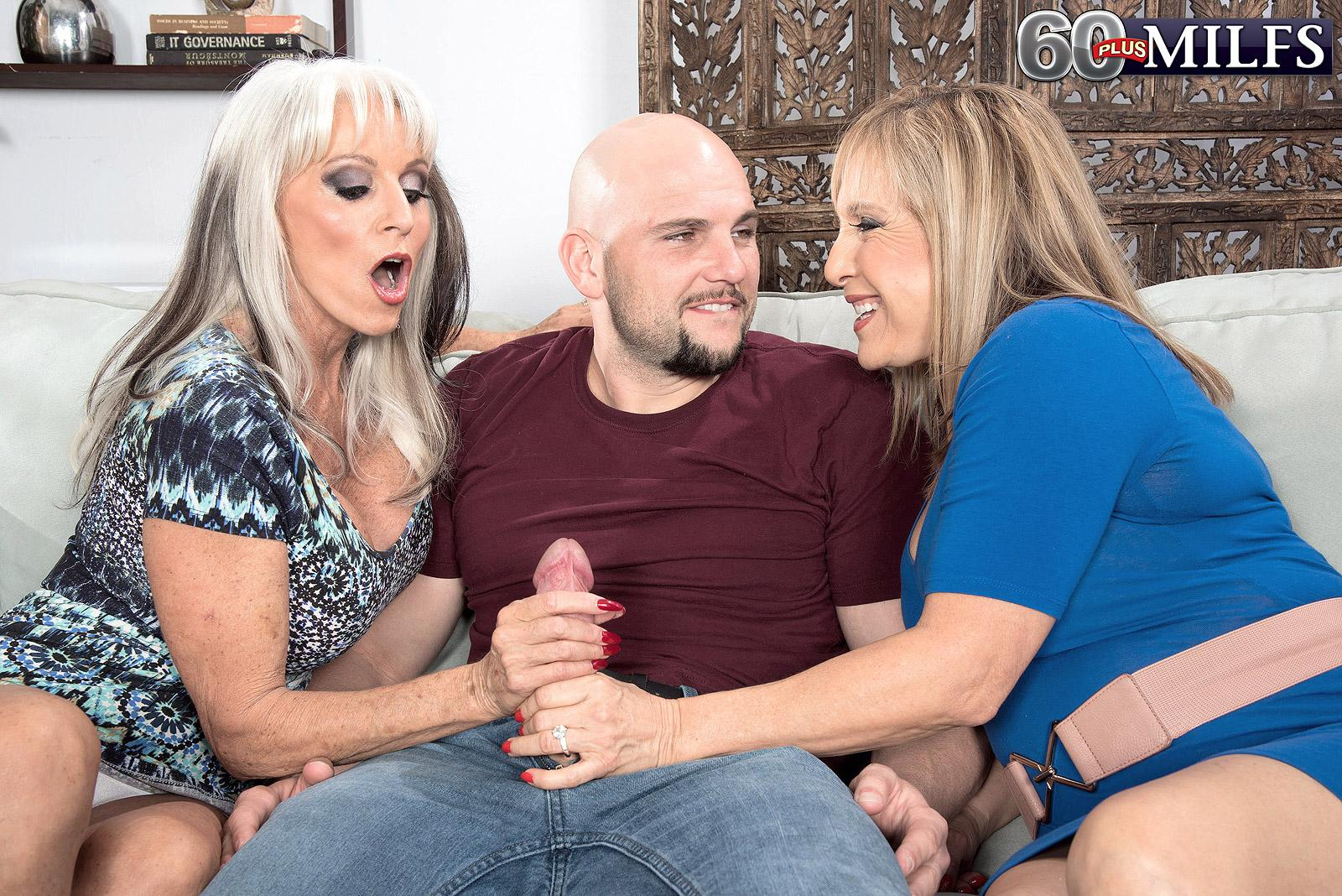 60 plus cougars Sally D'Angelo and Luna Azul give a dual hand-job and oral job