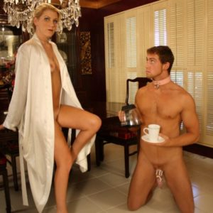 Blonde gf Ashley Edmunds has her sub hubby blow another man's junk before she boinks him