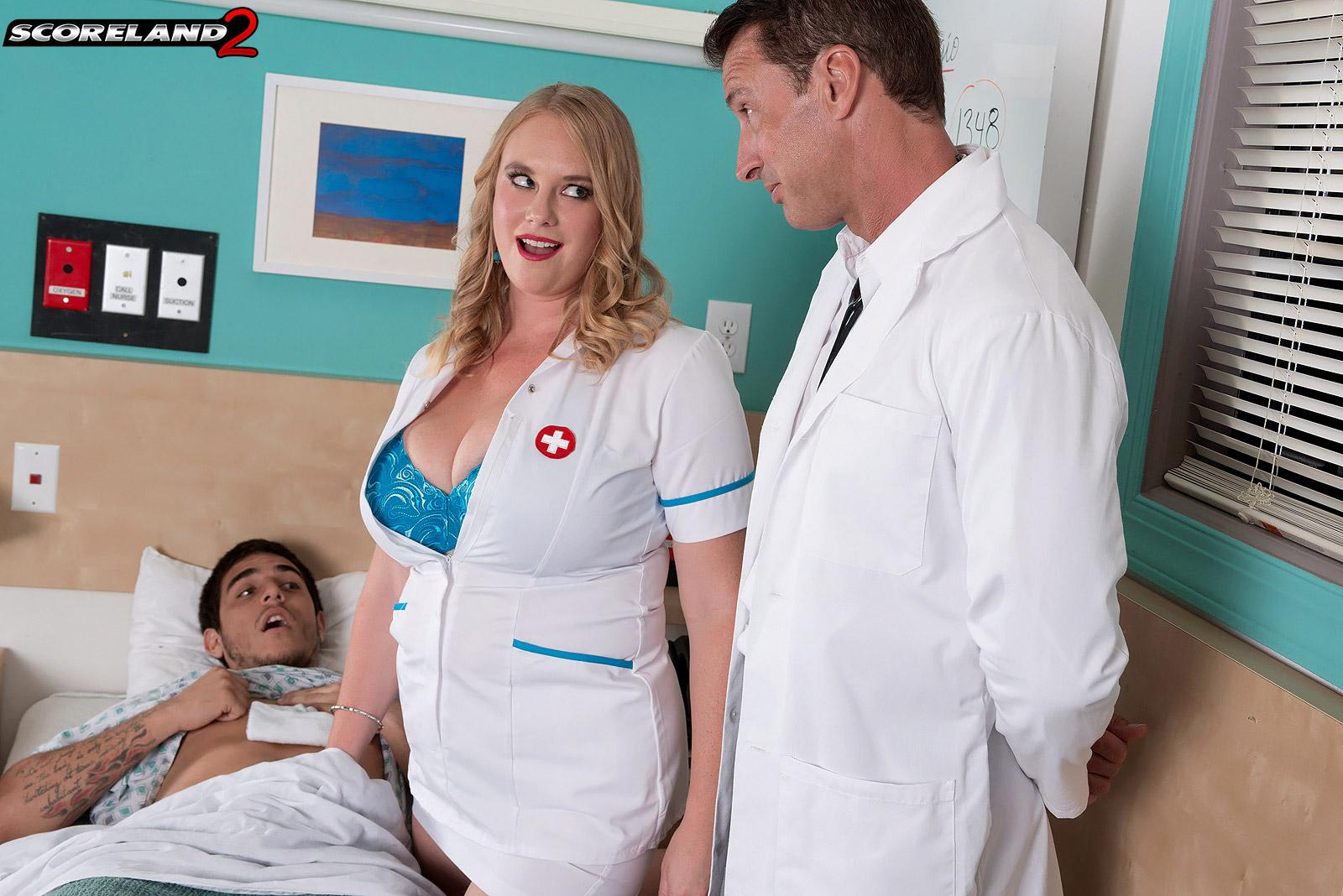 Blonde nurse Cameron Skye gets caught delivering patient a handjob by a doc