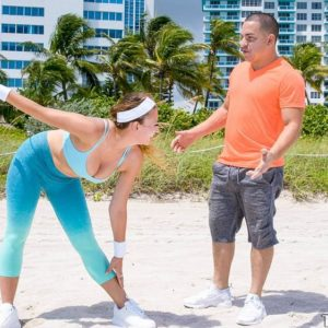 Chesty teen female Ivy Rose gets ravaged by her intimate trainer after a workout on beach