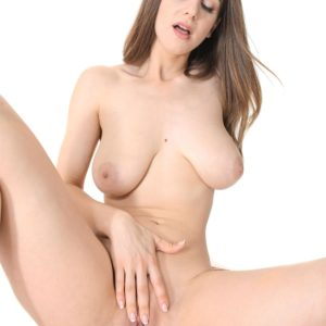 Lumbering stunner Stella Cox reveals her huge all natural tits as she strips to masturbate