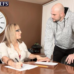 Over 60 educator Luna Azul seduces a male schoolgirl in her office place