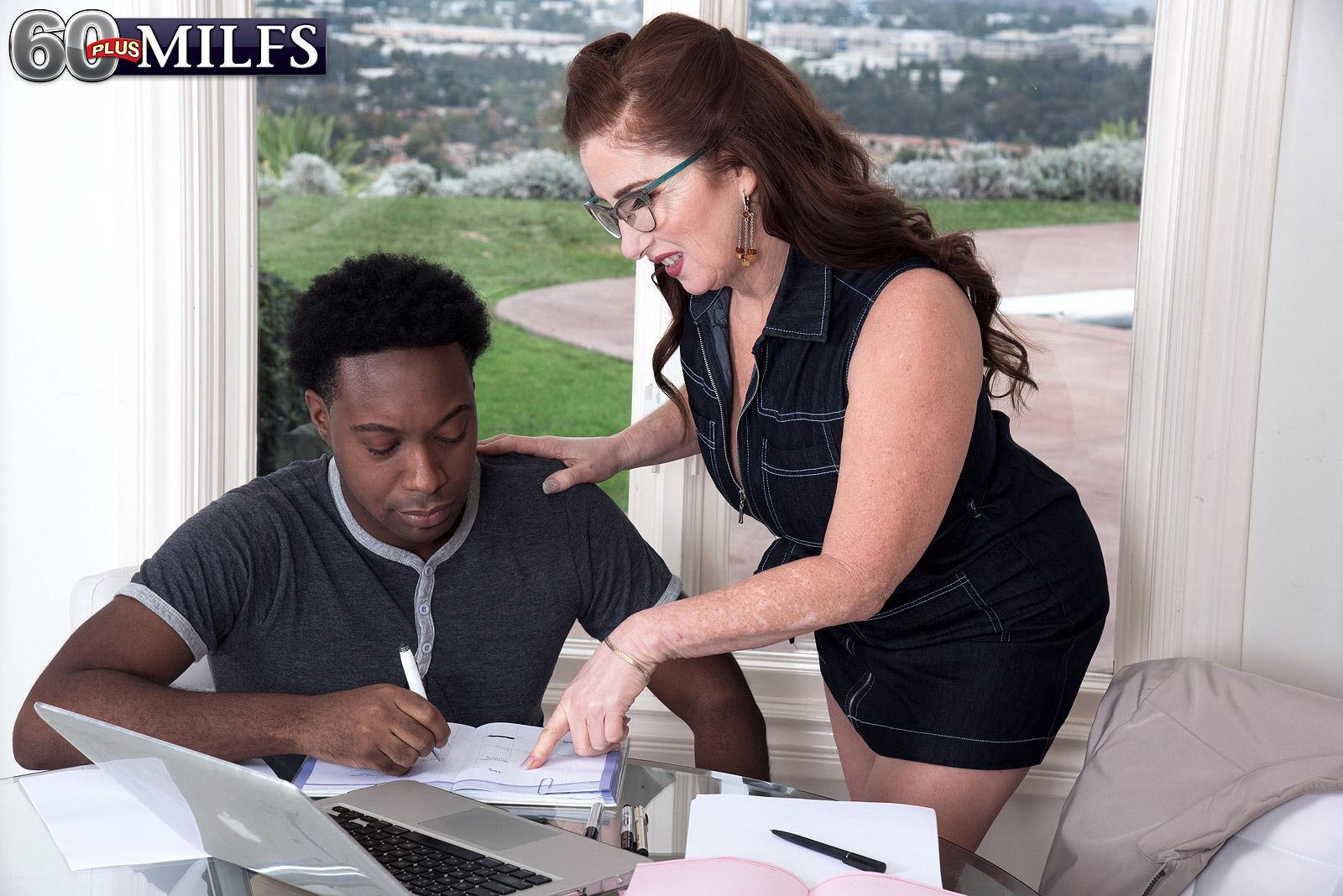 Over sixty broad Maria Fawndeli seduces a junior ebony man while tutoring him