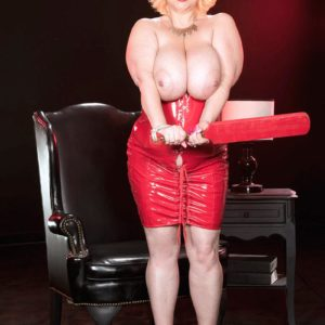 Ash-blonde BIG SEXY LADY Samantha 38G looses big boobs from red latex dress in high heels
