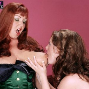 Big-chested aged lezzies Angela Milky and Cherry Brady play lesbian domination games in lingerie