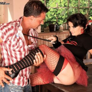 Black-haired MILF Arianna Sinn has a boy suck her beaver and swell nips after boot tonguing