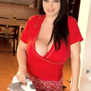 Brunette BIG BEAUTIFUL WOMAN Joana Blessing tongues a nip after unleashing her massive knockers in solo activity