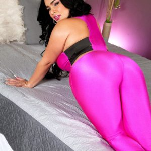 Chubber Latina chick Fate unveils her large titties in a skintight body-stocking and pumps