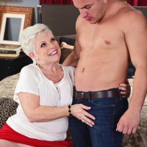 Filthy MILF on the other side of 60 Jewel seduces a junior man before gobbling his junk