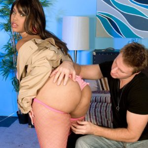 Immense bottomed chick Joei Deluxxxe tempts a boy in a trench coat over boulder-holder and underwear