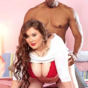 Lengthy haired BBW Lilli Blue masturbates on a BIG EBONY DICK after having her immense rump and tits liberated