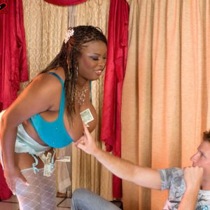 Black stripper Mianna Thomas uncovers her giant funbags in hose and garters