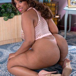 Ebony BIG BEAUTIFUL WOMAN Layla Monroe flaunts her big ass in semitransparent dress and thong panties