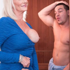 Kinky 60 plus MILF Leah L'Amour tempts a younger guy in the sauna before delivering a ORAL JOB