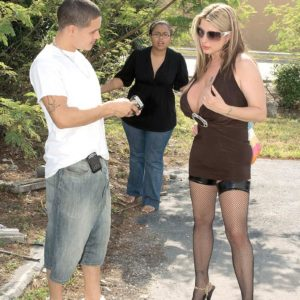 Nasty golden-haired MILF Summer Sinn tempts a married boy with her monster-sized fun bags in pantyhose