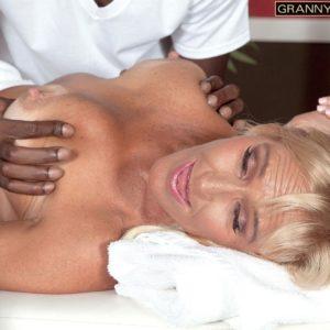 Blonde granny Brittney Snow gets seduced by her black massage therapist