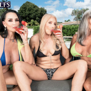 Grandmother XXX pornstar Rita Daniels and her girlfriends entice the pool cleaning dudes