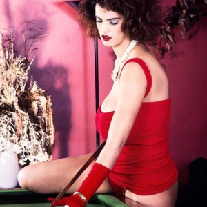 XXX actress Nilli Willis unveils her gigantic tits on pool table in red gloves and sundress