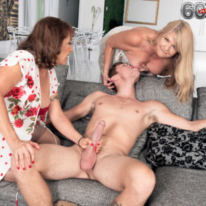 Grandma X-rated actress Luna Azul and a nan friend of hers undo and suck a younger boy