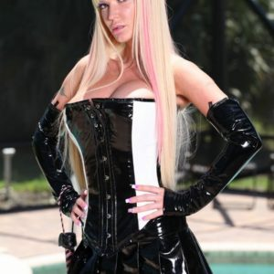 mind-blowing fair-haired Dominatrix Alexia Jordon sits astride a hooded male submissive in spandex by the pool