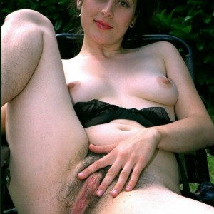 European brunette amateurs display unshaven underarms and vaginas in the backyard