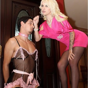 Hot platinum-blonde gf Victoria puts her sissy spouse Stevie into lingerie and hosiery