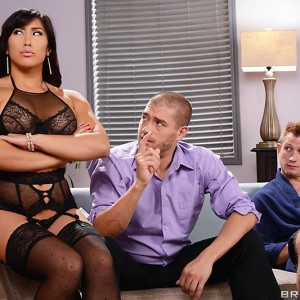 Chinese MILF Mia Li does a double intrusion after modelling in ebony lingerie and tights